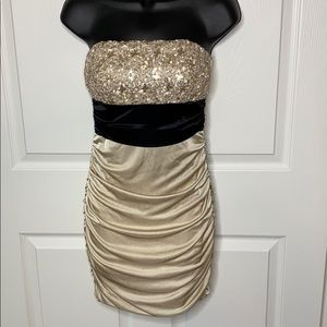 Gold and black strapless dress